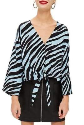 Topshop PETITE Zebra Print Tie-Front Blouse