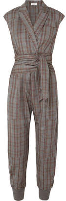 Brunello Cucinelli Prince Of Wales Checked Wool Jumpsuit - Gray