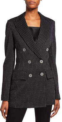 St. John Evening Paillette Pinstripe Double-Breasted Notch-Collar Jacket