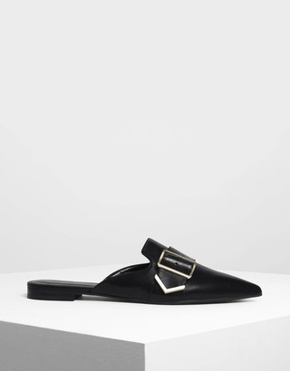 Charles & Keith Metallic Detail Pointed Mules