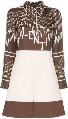 Valentino lettered logo chevron silk dress