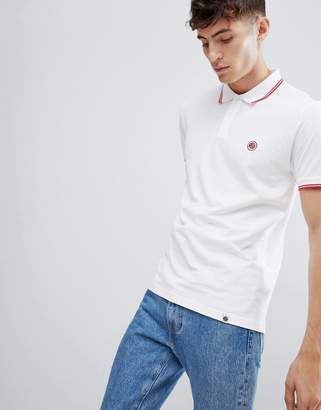 Pretty Green tipped polo in white