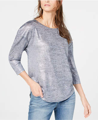 INC International Concepts I.N.C. Foil Shine Top, Created for Macy's