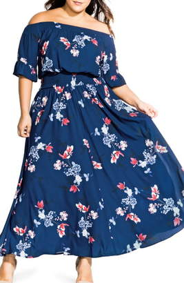 City Chic Lotus Love Off the Shoulder Maxi Dress