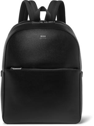 HUGO BOSS Full-Grain Leather Backpack - Men - Black