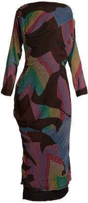 Vivienne Westwood New Fond zigzag-print draped crepe dress