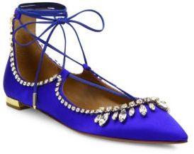 Aquazzura Christy Satin & Crystal Lace-Up Flats $1,100 thestylecure.com