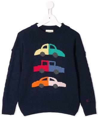 Bobo Choses car intarsia knit jumper
