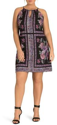 City Chic Plus Paisley Tile-Print Dress