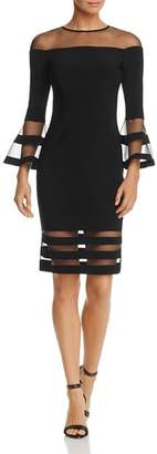 Avery G Illusion-Neck Bell Sleeve Dress