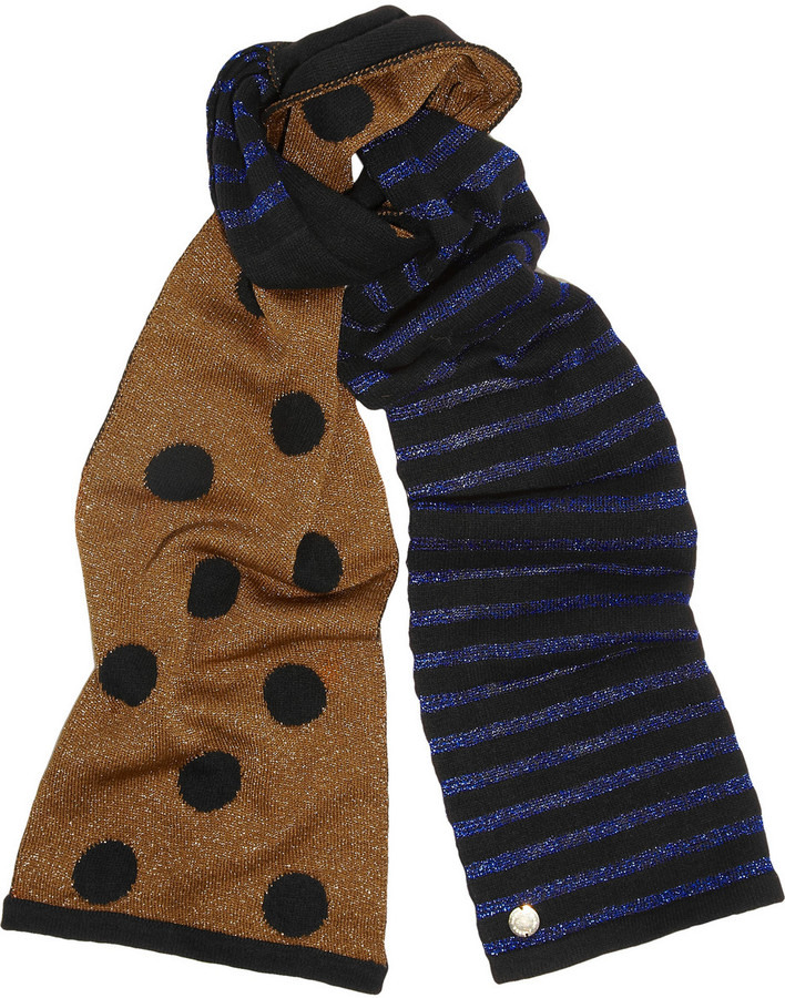 Marc by Marc Jacobs Clara contrast metallic knitted scarf