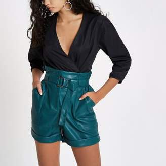 River Island Blue faux leather high waisted paperbag short
