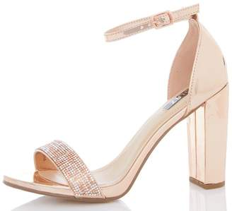 Quiz Rose Metallic Diamante Barely There Shoes