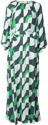 LAYEUR geometric print maxi dress