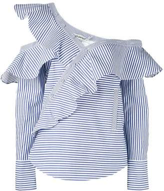 Self-Portrait striped frill blouse