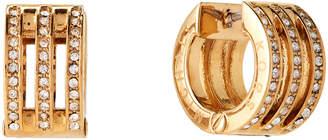 Michael Kors Gold-Tone Pave Logo Huggie Hoop Earrings