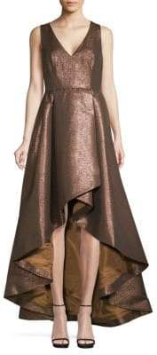 Calvin Klein Metallic Ruffled High-Low Gown