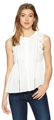 Max Studio MAXSTUDIO Women's Sleeveless Lace Trimmed Ruffle Top