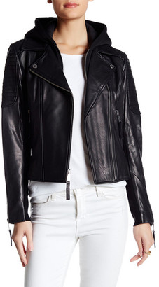 BCBGeneration Hooded Leather Moto Jacket $420 thestylecure.com