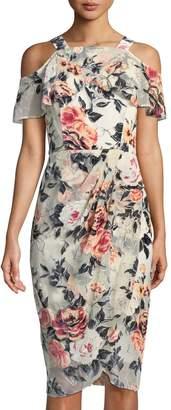 Jax Cold-Shoulder Devore Midi Dress