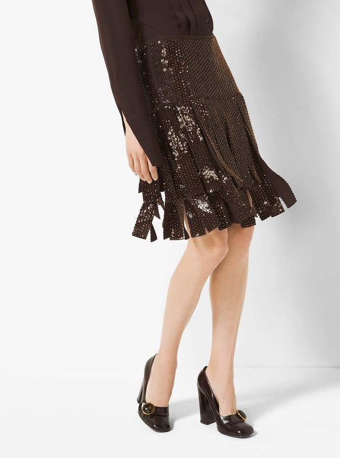 Michael Kors Collection Sequin-Embroidered Silk-Georgette Streamer Skirt