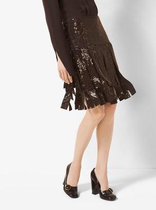 Michael Kors Sequin-Embroidered Silk-Georgette Streamer Skirt