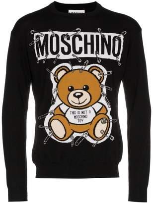 Moschino teddy bear intarsia safety pin virgin wool jumper