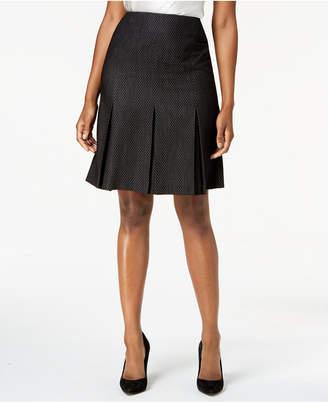 Kasper Dot-Print Pleated-Hem Skirt, Regular & Petite Sizes