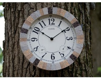 Backyard Expressions Decorative Weather Monitoring Indoor/Outdoor Stone Clock - Grey/Brown