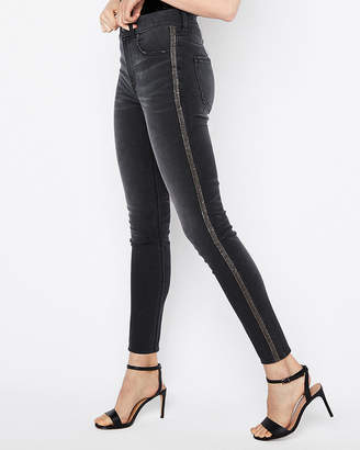Express High Waisted Embellished Stripe Stretch Ankle Leggings
