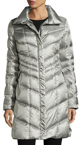 Bogner Fire & Ice Bogner Fire + Ice Hooded Herringbone Down Coat, Platinum