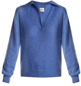 Khaite - Jo Cashmere Blend Polo Sweater - Womens - Blue