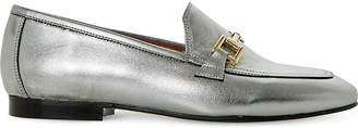 Dune Guru metallic-leather loafers