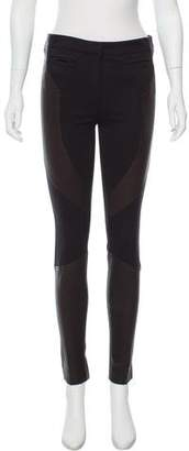 Givenchy Mid-Rise Leather-Trimmed Pants w/ Tags