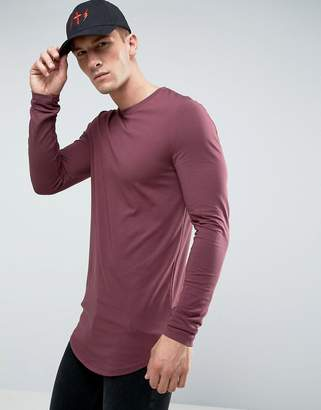 Asos DESIGN super longline muscle fit long sleeve t-shirt with curved hem in red