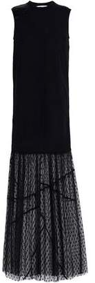 McQ Paneled Lace Jersey Satin And Point D'esprit Maxi Dress