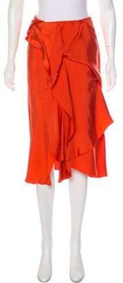 Bottega Veneta Ruffle-Accented Midi Skirt
