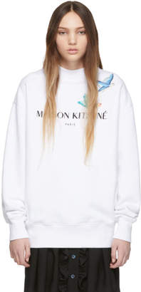 MAISON KITSUNÉ SSENSE Exclusive White Logo Lovebirds Sweatshirt