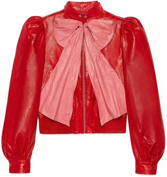Leather jacket with bow $4,800 thestylecure.com