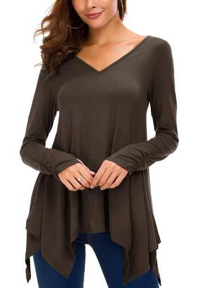 Urban CoCo Women's Long Sleeve Handkerchief Tunic Top with Thumb Hole (M, )