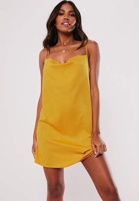 Missguided Mustard Satin Strappy Cowl Shift Dress