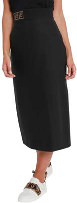 Fendi Midi Skirt With Elastic Band At Waist