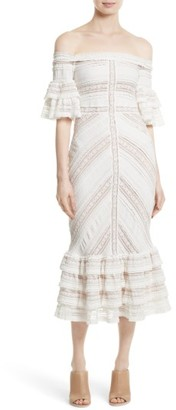 Women's Cinq A Sept Stretch Lace Off The Shoulder Midi Dress $525 thestylecure.com
