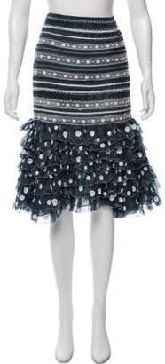 Oscar de la Renta Silk Embroidered Skirt