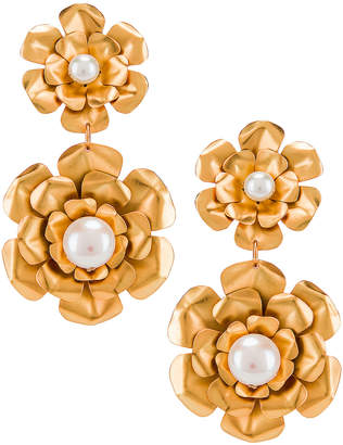 Mercedes Salazar Flower Earrings in Gold | FWRD