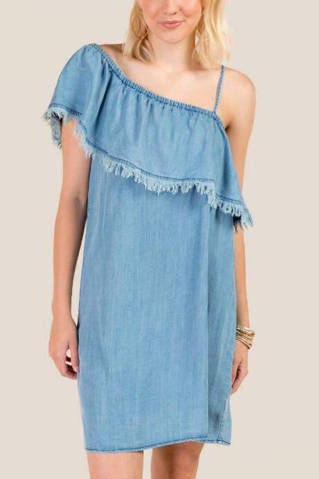 Coreene One Shoulder Dress - Chambray