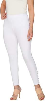 Susan Graver Weekend Cotton Spandex Leggings with Button Detail