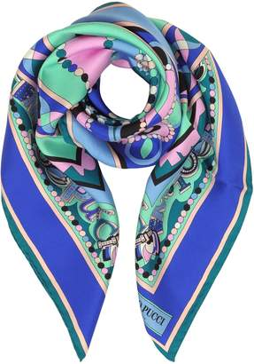 Emilio Pucci Cobalt Blue/peony Pink Geometric And Signature Printed Silk Square Scarf