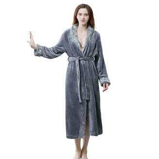 a1214ff9c5 Hellomamma Long Bath Robe for Women Soft Warm Fleece Bathrobe Dressing Gown  Housecoat