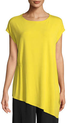 Eileen Fisher Jewel-Neck Viscose-Jersey Top